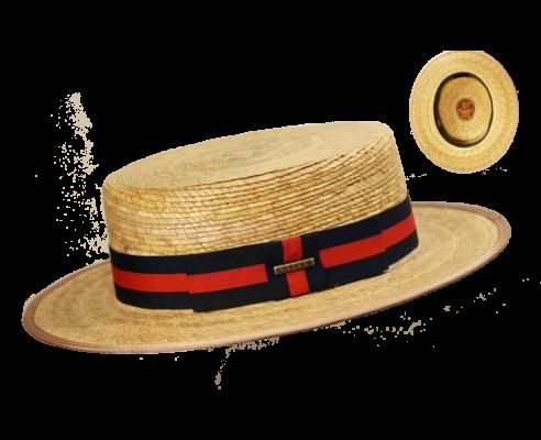 Sombrero Canotier Palma Natural Azul