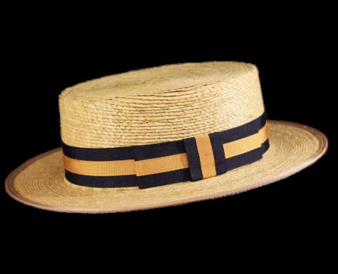 Sombrero Canotier Palma Natural Dorado