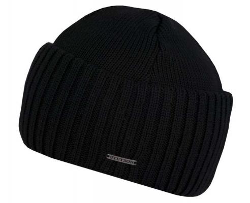 Beanie Merino Wool Capa de lã preta